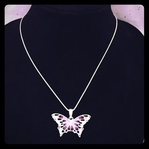 """.999 Silver Purple Butterfly Necklace Charm 18"""""""